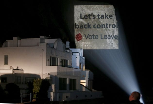 Vote Leave projected its campaign logo onto Dover's white cliffs during the referendum campaign