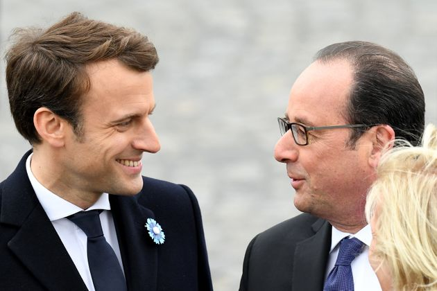 French president-elect Emmanuel Macron attends a ceremony in Paris on Monday with outgoing French President...