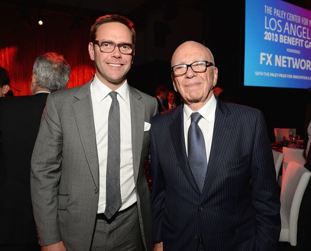 21st Century Fox chairman James Murdoch (left) with his father