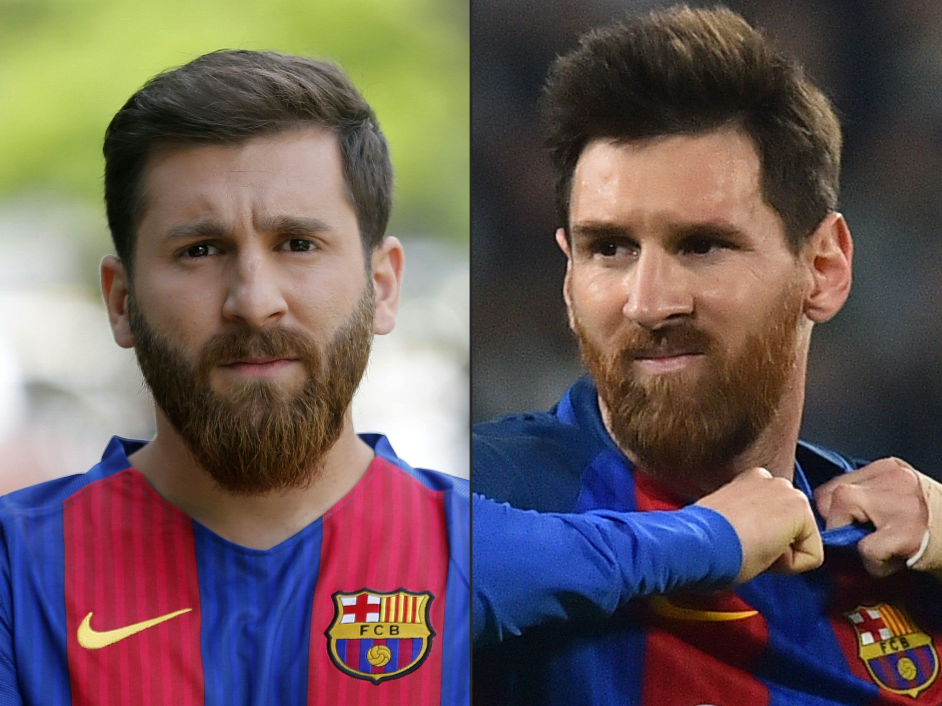 Parastesh is on the left. The real Lionel Messi is on the