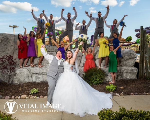 """""""After four years together, Casie and Maggie celebrated their love and were married at Kalahari Resort in Wisconsin Dells. Ca"""