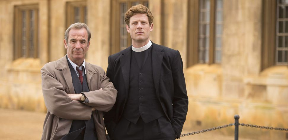 Sidney Chambers (James Norton, right) is inspired by Robert Runcie, the author's