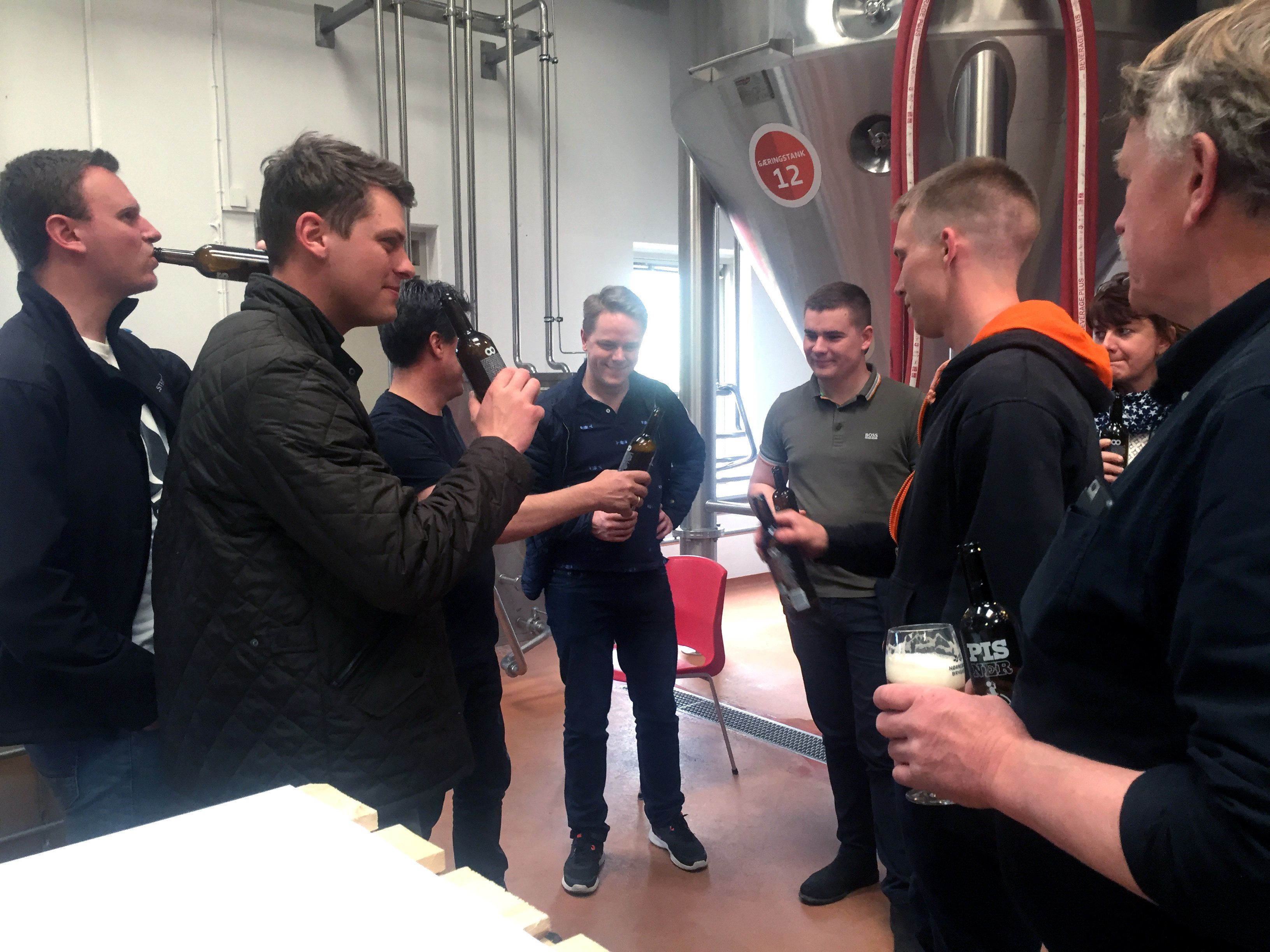 Visitors taste Pisner beer at the Norrebro Bryghus in Hedehusene, Denmark on May 4.