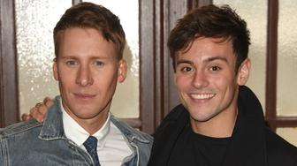 SAN FRANCISCO, CA - FEBRUARY 20:  Dustin Lance Black and Tom Daley attend the Screening Of ABC's 'When We Rise' at Castro Theatre on February 20, 2017 in San Francisco, California.  (Photo by C Flanigan/Getty Images)