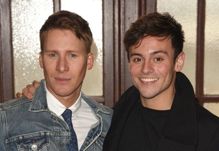 Dustin Lance Black (left) and Tom Daley wed Saturday at Bovey Castle on Dartmoor in Devon, England.