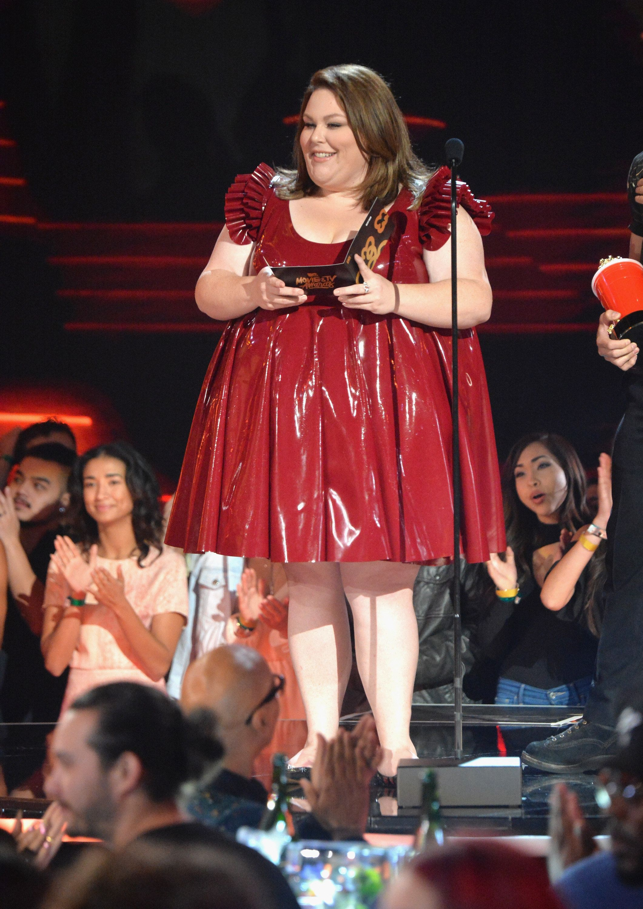 LOS ANGELES, CA - MAY 07:  Actor Chrissy Metz speaks onstage during the 2017 MTV Movie And TV Awards at The Shrine Auditorium on May 7, 2017 in Los Angeles, California.  (Photo by Jeff Kravitz/FilmMagic)