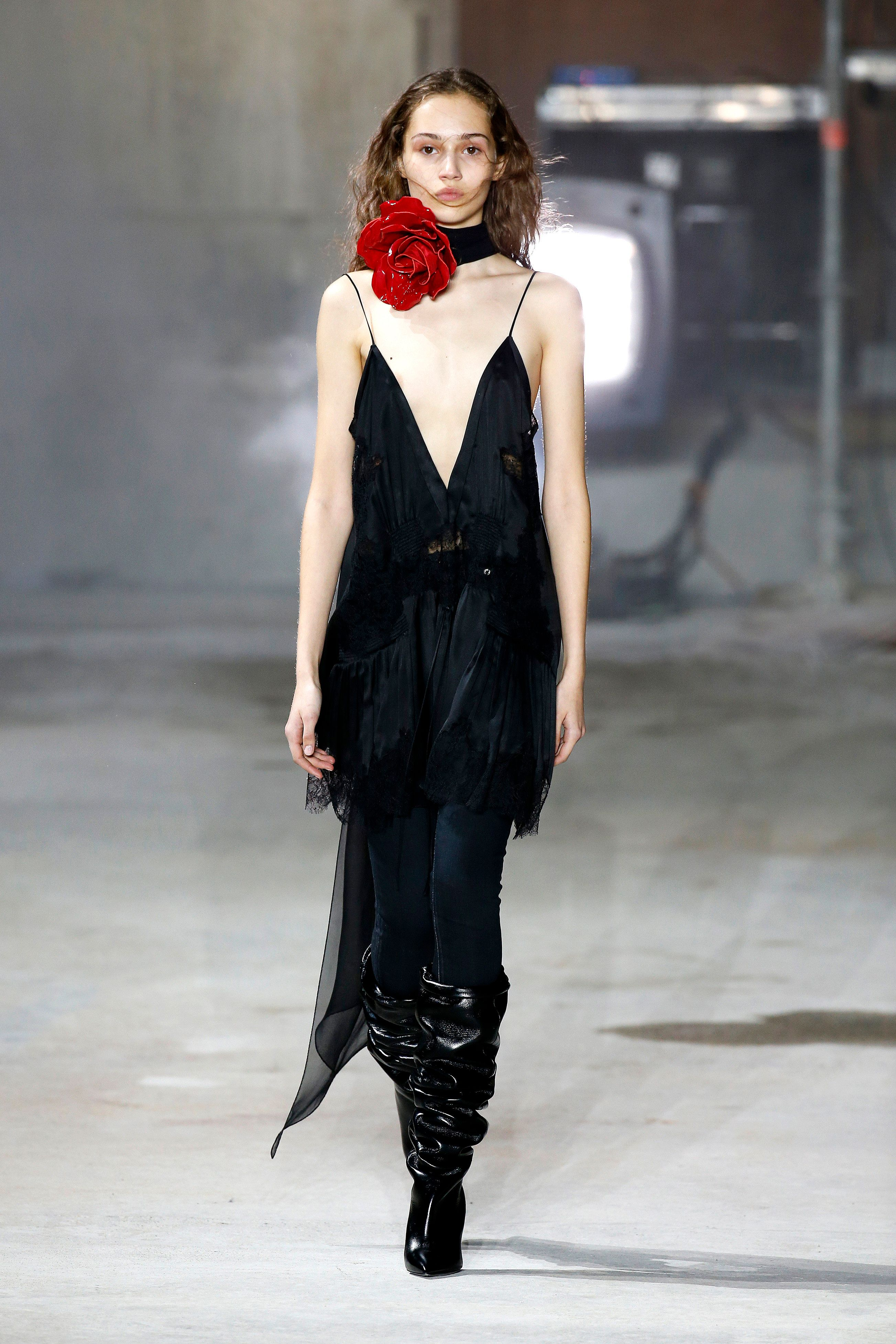 A model walks the runway during the Saint Laurent show for Paris Fashion Week on 28 February 2017 in...