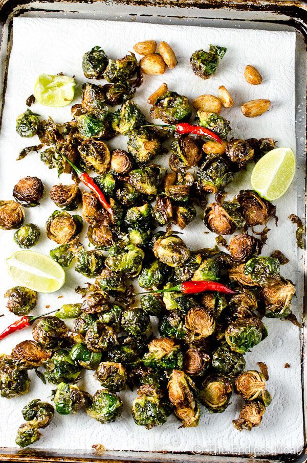 """<strong>Get the <a href=""""http://www.theendlessmeal.com/coconut-oil-fried-brussels-sprouts-with-garlic-chilies-and-lime/"""" targ"""