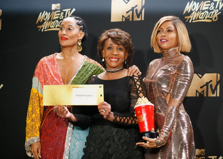 Tracee Ellis Ross, Maxine Waters and Taraji P. Henson pose at the MTV Movie & TV Awards after Henson was announced t