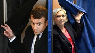 (COMBO) This combination of pictures created on May 7, 2017 shows French presidential election candidate for the En Marche ! movement Emmanuel Macron (L) exiting a polling booth before casting his ballot at a polling station in Le Touquet, northern France, and French presidential election candidate for the far-right Front National (FN - National Front) party Marine Le Pen walking out a polling booth at a polling station in Henin-Beaumont, north-western France, during the second round of the French presidential election.  / AFP PHOTO / POOL AND AFP PHOTO / Eric FEFERBERG AND ALAIN JOCARD        (Photo credit should read ERIC FEFERBERG,ALAIN JOCARD/AFP/Getty Images)