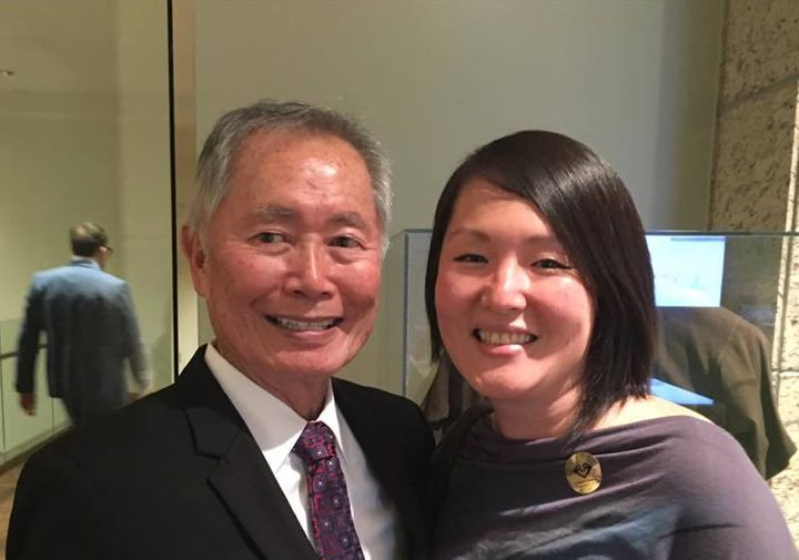 Me with the legendary George Takei at the Japanese American National Museum's #NewFrontiers exhibit--opening night, March 11,