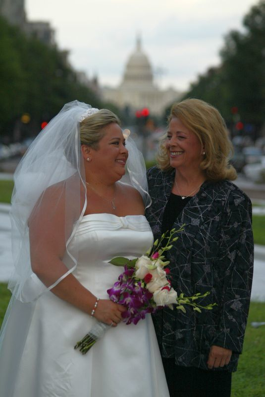 Author Sandy Malone with her mother, Robin Corridon, in Freedom Plaza, Washington, DC