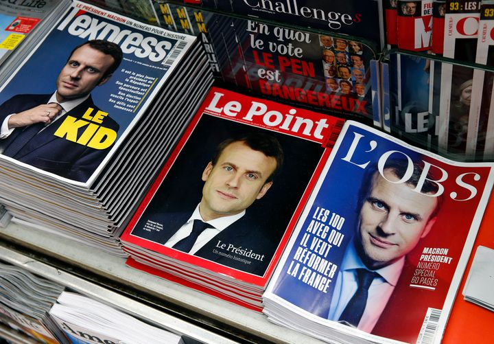 French magazine front covers featurethe picture of French President-elect Emmanuel Macron. May 8,Paris.