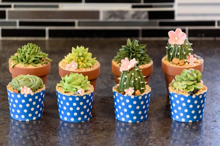 Baker Jennifer Riley uses buttercream frosting in various colors to create the plants, crumbled graham cracker to create the sand and fondant to create the flowers.