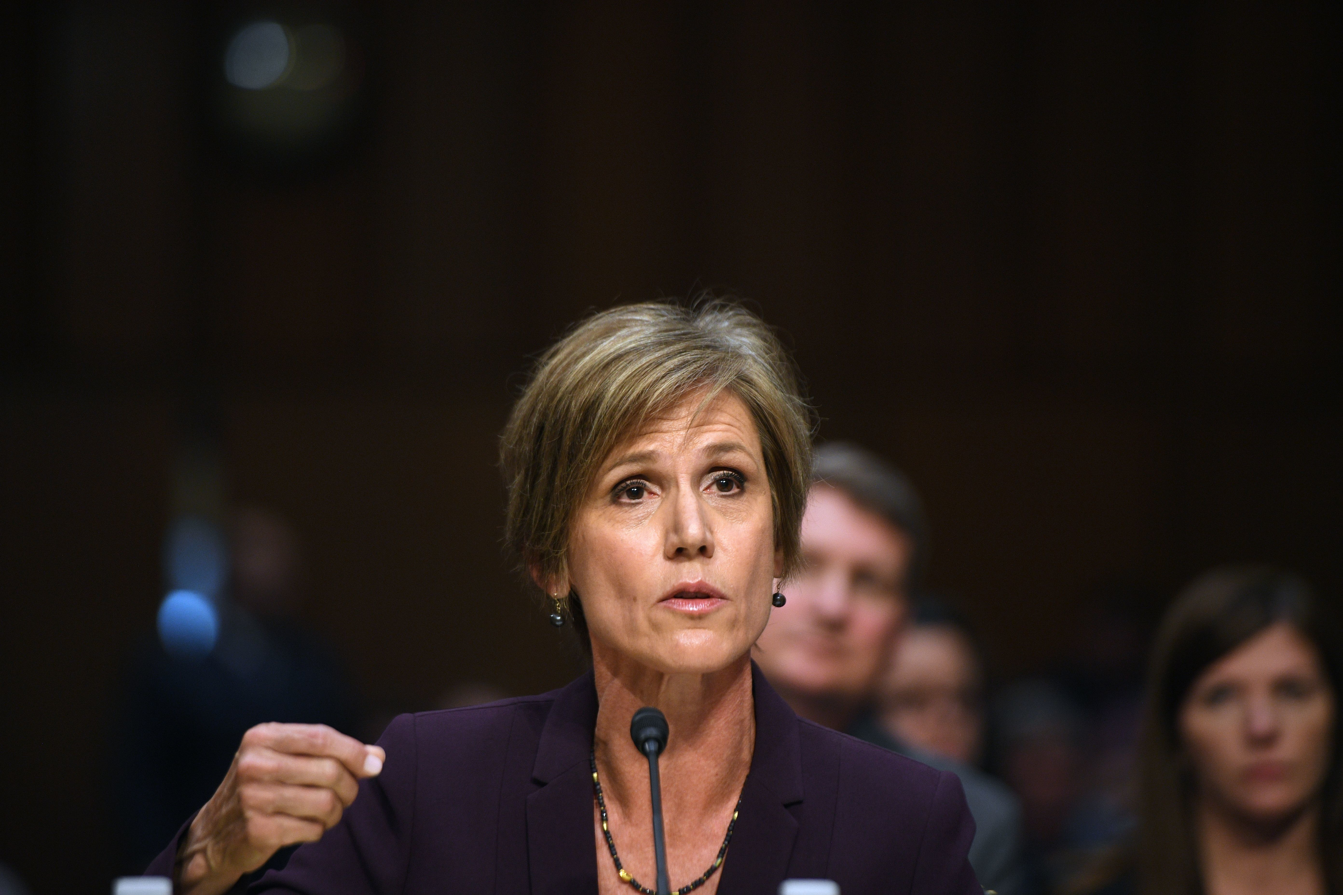 Former acting Attorney General Sally Yates testifies on Mondaybefore the U.S. Senate Judiciary Committee on Capitol Hil