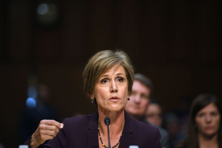 Former acting Attorney General Sally Yates testifies on Monday before the U.S. Senate Judiciary Committee on Capitol Hil
