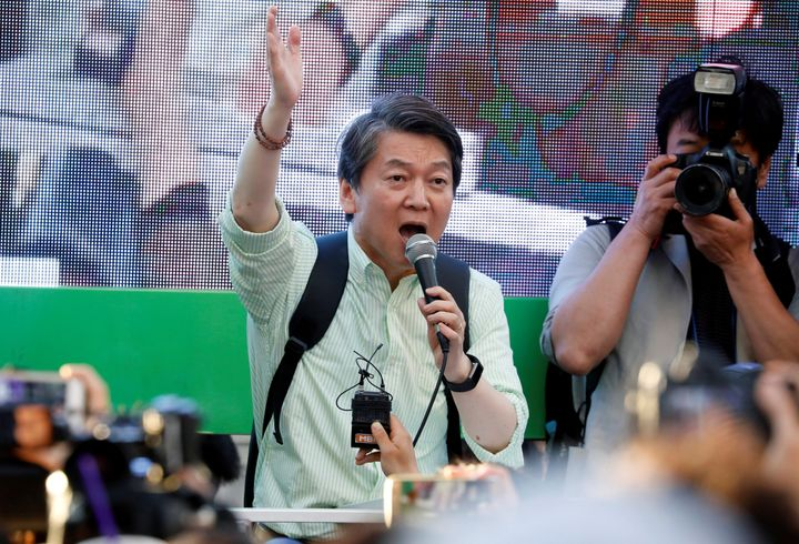 Ahn Cheol-soo, the presidential candidate of the People's Party, speaks during his election campaign rally in Seoul, South Ko