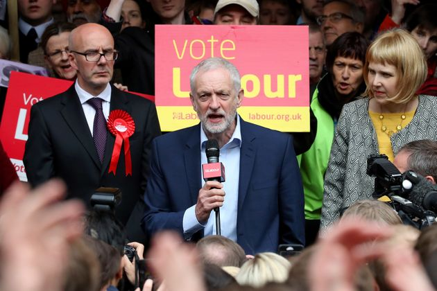 Labour party leader Jeremy Corbyn speaks outside at Leamington Spa Town