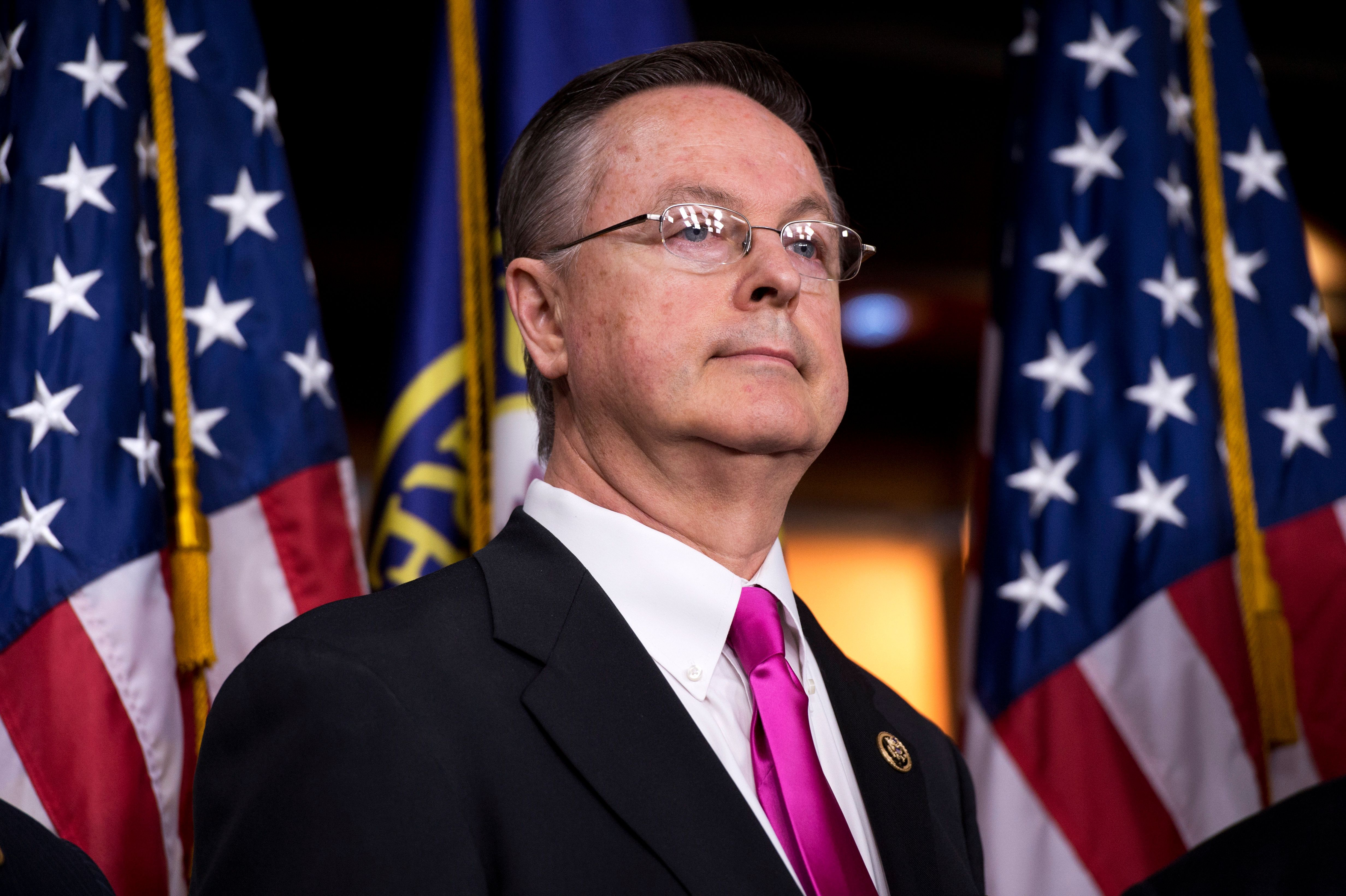UNITED STATES - MARCH 17:  Rep. Rod Blum, R-Iowa., attends a news conference in the Capitol Visitor Center with members of the House Budget Committee to introduce the FY2016 budget resolution and discuss ways to balance the budget, March 17, 2015. (Photo By Tom Williams/CQ Roll Call)