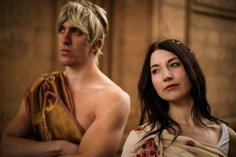 Kyle Goldman (Apollo) and Kathleen McHatton (Artemis) in <strong><em>Twins </em></strong>