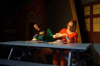 Tricia (Isabel Siragusa) and Marcy (Madison Worthington) get wasted during lunch in a scene from <strong><em>Dog Sees God</em
