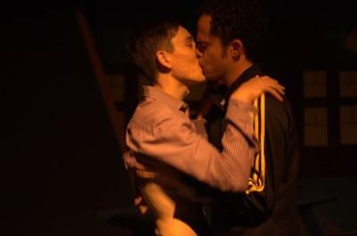 Beethoven (Ryan Engstrom) and CB (Michael Brown) nervously share a first kiss in <strong><em>Dog Sees God</em></strong>