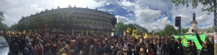 Protesters marching against the anti-immigrant proposals of the National Front party (Place de la République, Paris, May 2017