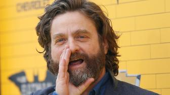 """Cast member Zach Galifianakis reacts at the premiere of the movie """"The LEGO Batman Movie"""" in Los Angeles, California, U.S., February 4, 2017.   REUTERS/Mario Anzuoni"""