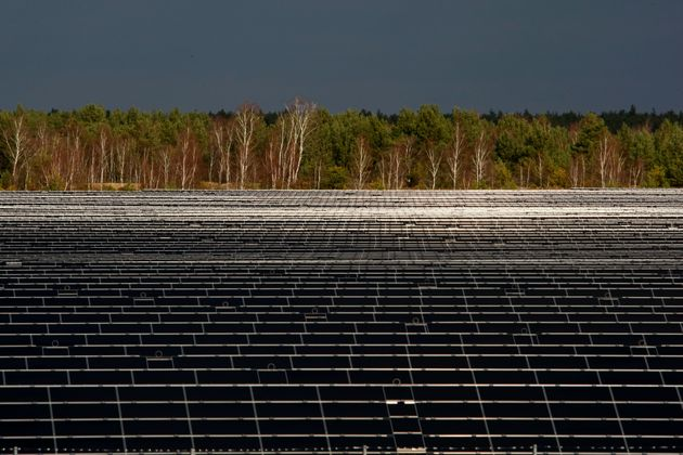 A general view shows the Lieberose solar farm, one of the world's largest solar power