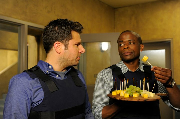 "James Roday and Dulé Hill, pictured in an episode from ""Psych,"" will return in a movie version."