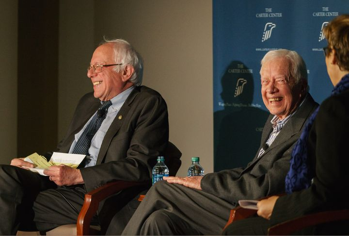 Senator Bernie Sanders of Vermont and former U.S. President Jimmy Carter spoke at the Carter Center's Human Rights Defenders