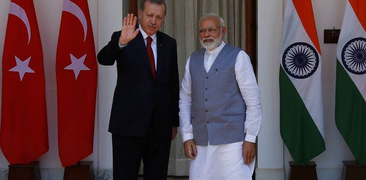 Turkish President Tayyip Erdogan recently met with India's Prime Minister Narendra Modi.