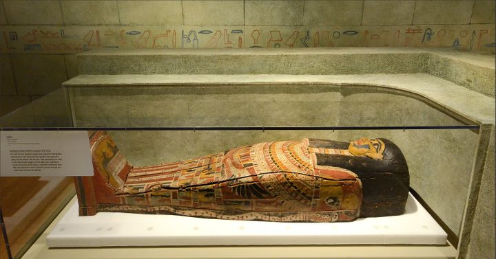 While tombs built in the later dynasties 664-332 BC were generally plain, coffins like this hieroglyph-decorated one were ado