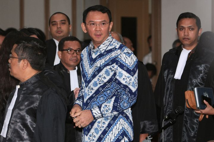 Jakarta Governor Basuki Tjahaja Purnama is seen inside a court during his trial for blasphemy in Jakarta, Indonesia May 9, 20