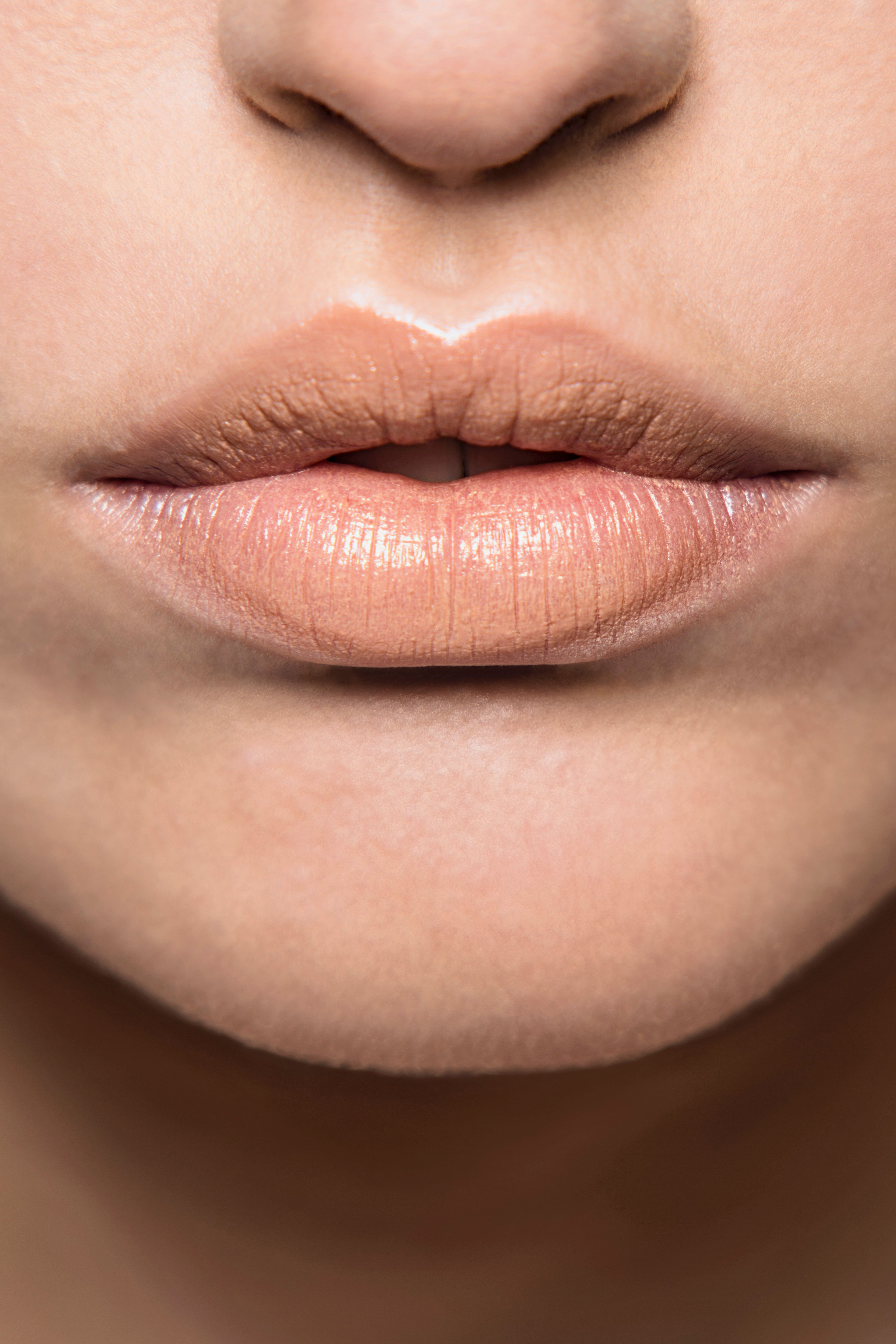 mouth, make-up, lips, lipstick, part of, bare,parted lips, nude, nude look, neutral color, symmetry