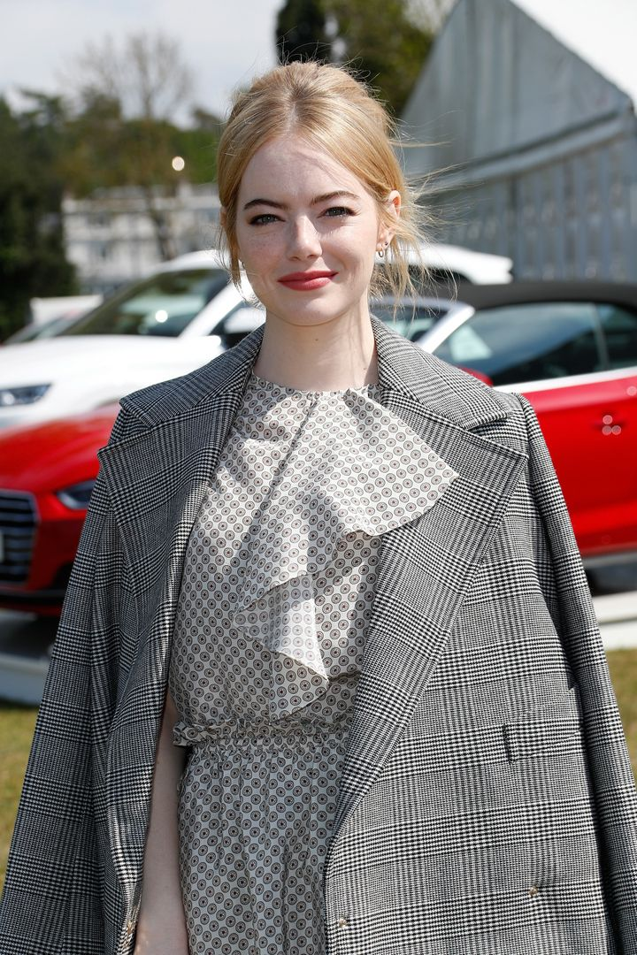 Emma Stone attends the Audi Polo Challenge at Coworth Park on May 7 in Ascot, United Kingdom.