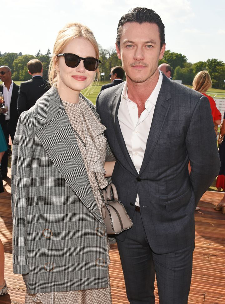 Emma Stone and Luke Evans attend the Audi Polo Challenge at Coworth Park on May 7 in Ascot, United Kingdom.