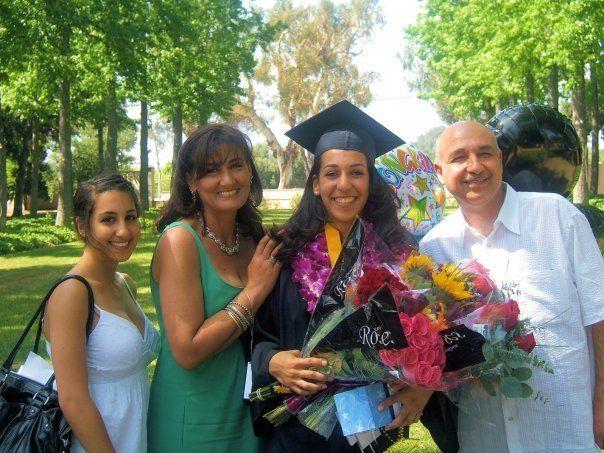"""White"" college graduate Nadia (with her wonderful Arab family)."