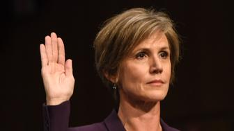 WASHINGTON, DC - MAY 8: Former Acting Attorney General Sally Yates is sworn in before she testifies before the Senate Judiciary Committee subcommittee hearing on Russian interference in the 2016 election, on May, 08, 2017 in Washington, DC. (Photo by Bill O'Leary/The Washington Post via Getty Images)