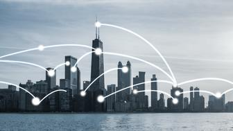 Chicago cityscape with network connection concept
