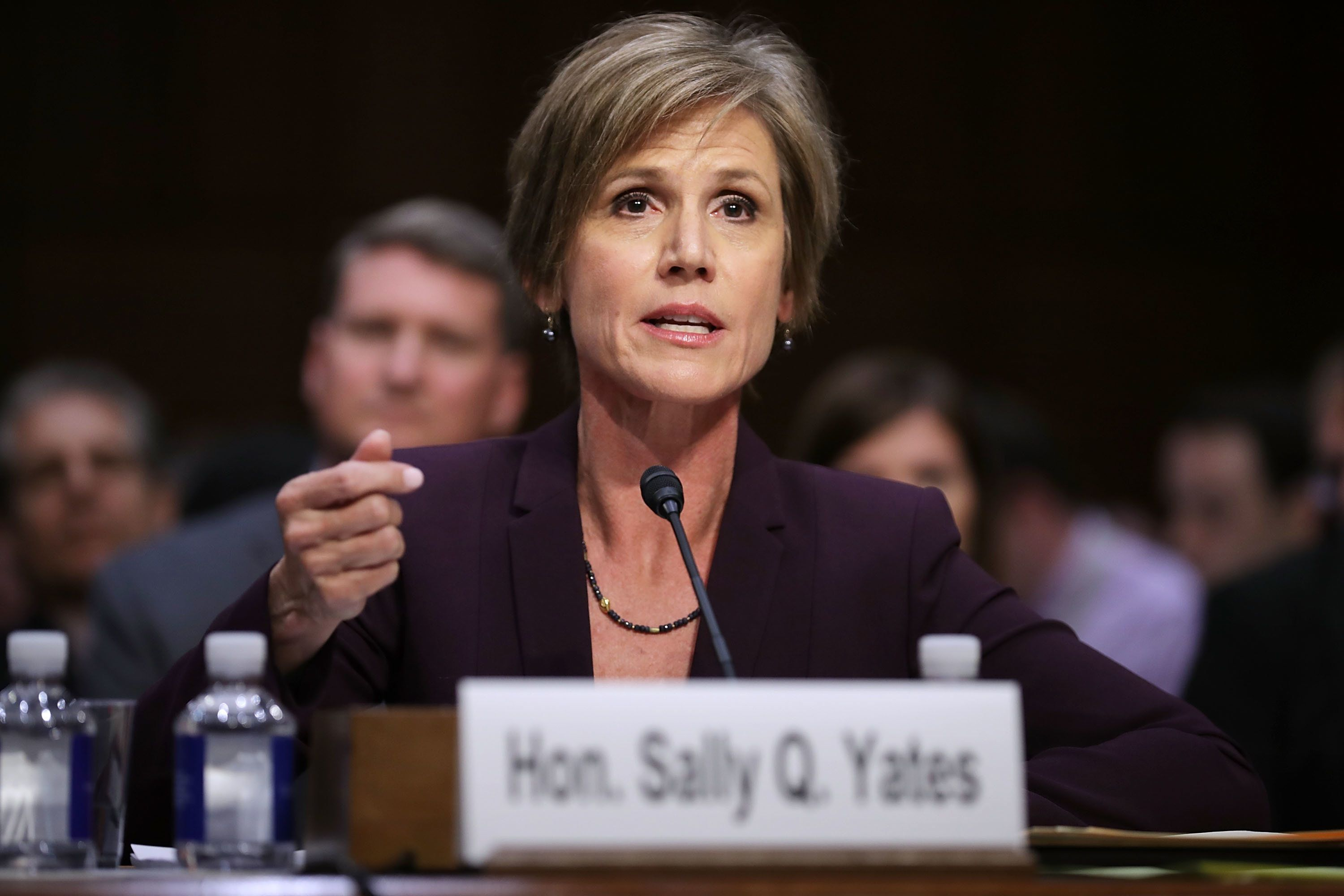 WASHINGTON, DC - MAY 08:  Former acting U.S. Attorney General Sally Yates testifies before the Senate Judicary Committee's Subcommittee on Crime and Terrorism in the Hart Senate Office Building on Capitol Hill May 8, 2017 in Washington, DC. Before being was fired by U.S. President Donald Trump, Yates  had warned the White House about contacts between former National Security Advisor Michael Flynn and Russia that might make him vulnerable to blackmail.  (Photo by Chip Somodevilla/Getty Images)