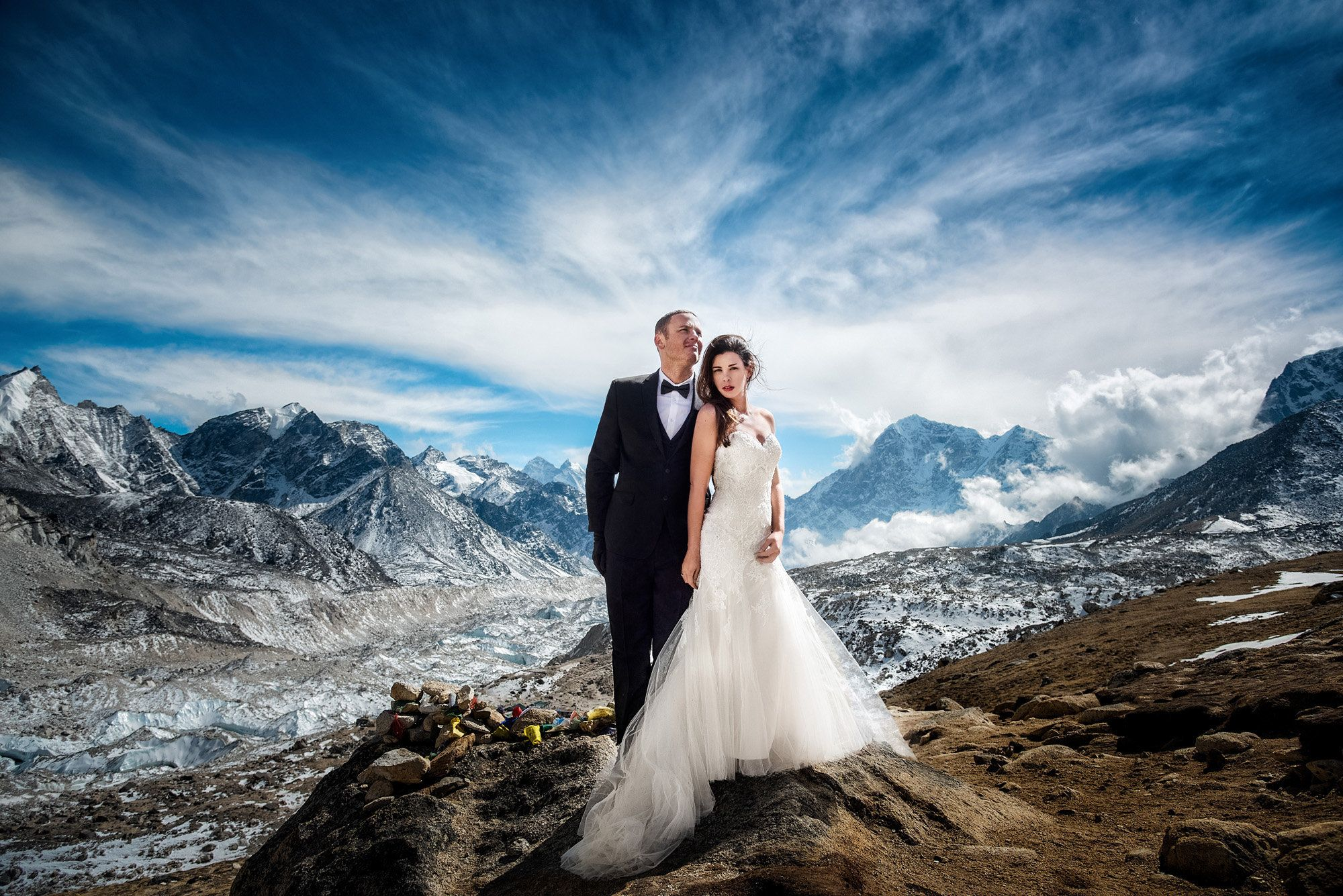 James Sissom and Ashley Schmieder on their wedding day at Everest Base