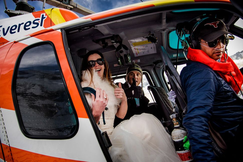 The pair's wedding day was the ultimate adventure.