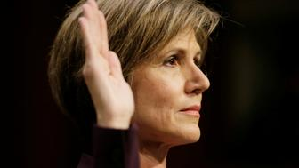 """Former Deputy Attorney General Sally Yates is sworn in prior to testifying before a Senate Judiciary Committee hearing on """"Russian interference in the 2016 U.S. election"""" on Capitol Hill in Washington, U .S., May 8, 2017. REUTERS/Jim Bourg     TPX IMAGES OF THE DAY"""