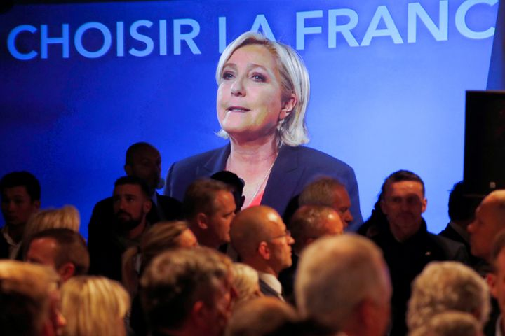 Marine Le Pen, French National Front political party candidate, concedes defeat after the second round of France's presi