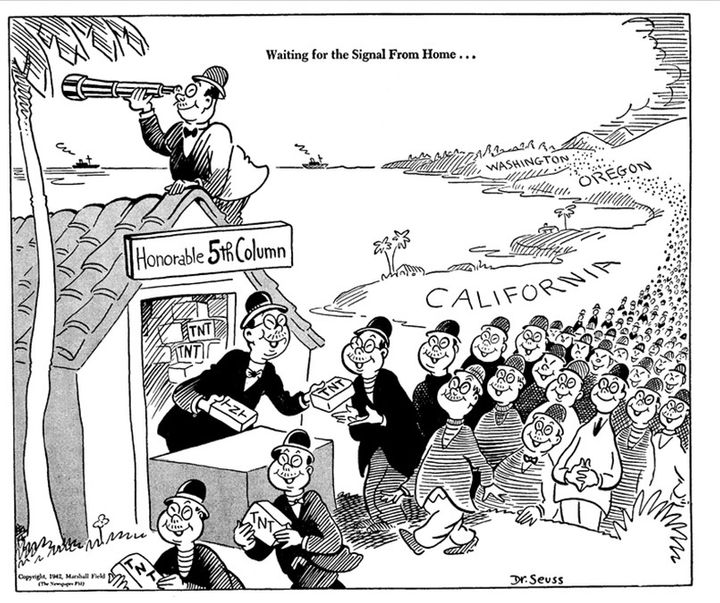 Note the artist's name in the corner. No Japanese Americans were ever convicted of espionage during WWII, and all rumors of a