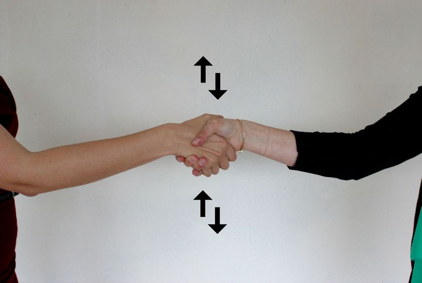 Keep your handshake dry, vertical, and firm