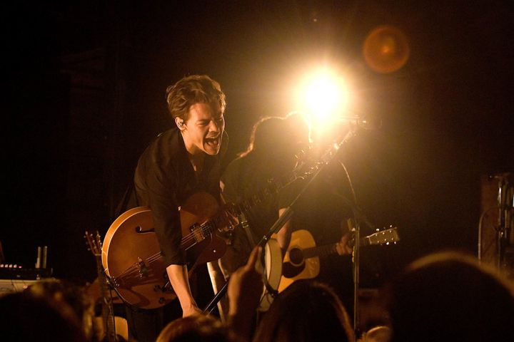 Harry Styles performs onstage at aniHeartRadio release partyMonday in New York.