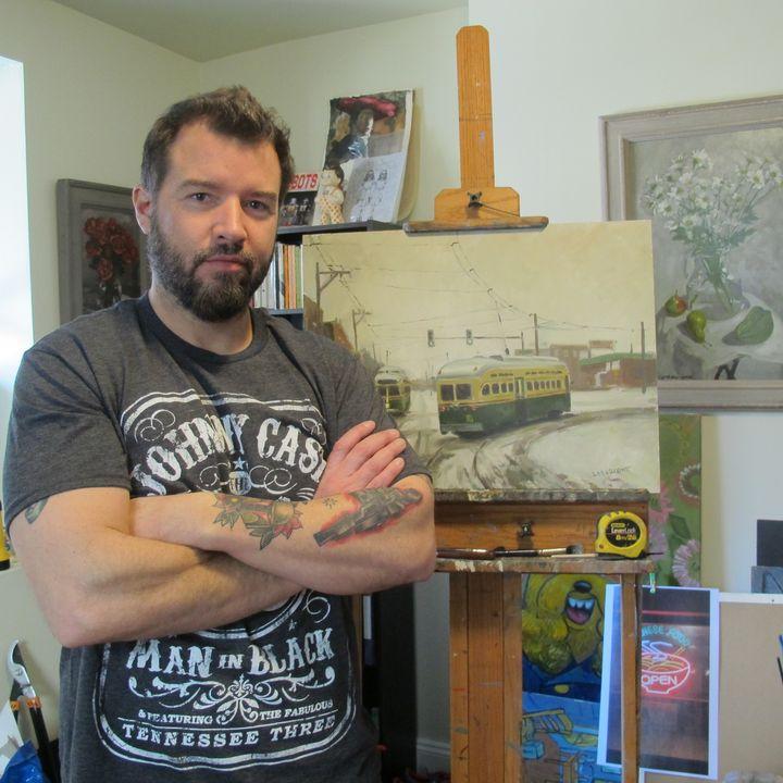 <p>Artist Terrence Laragione in his Philadelphia studio.</p>