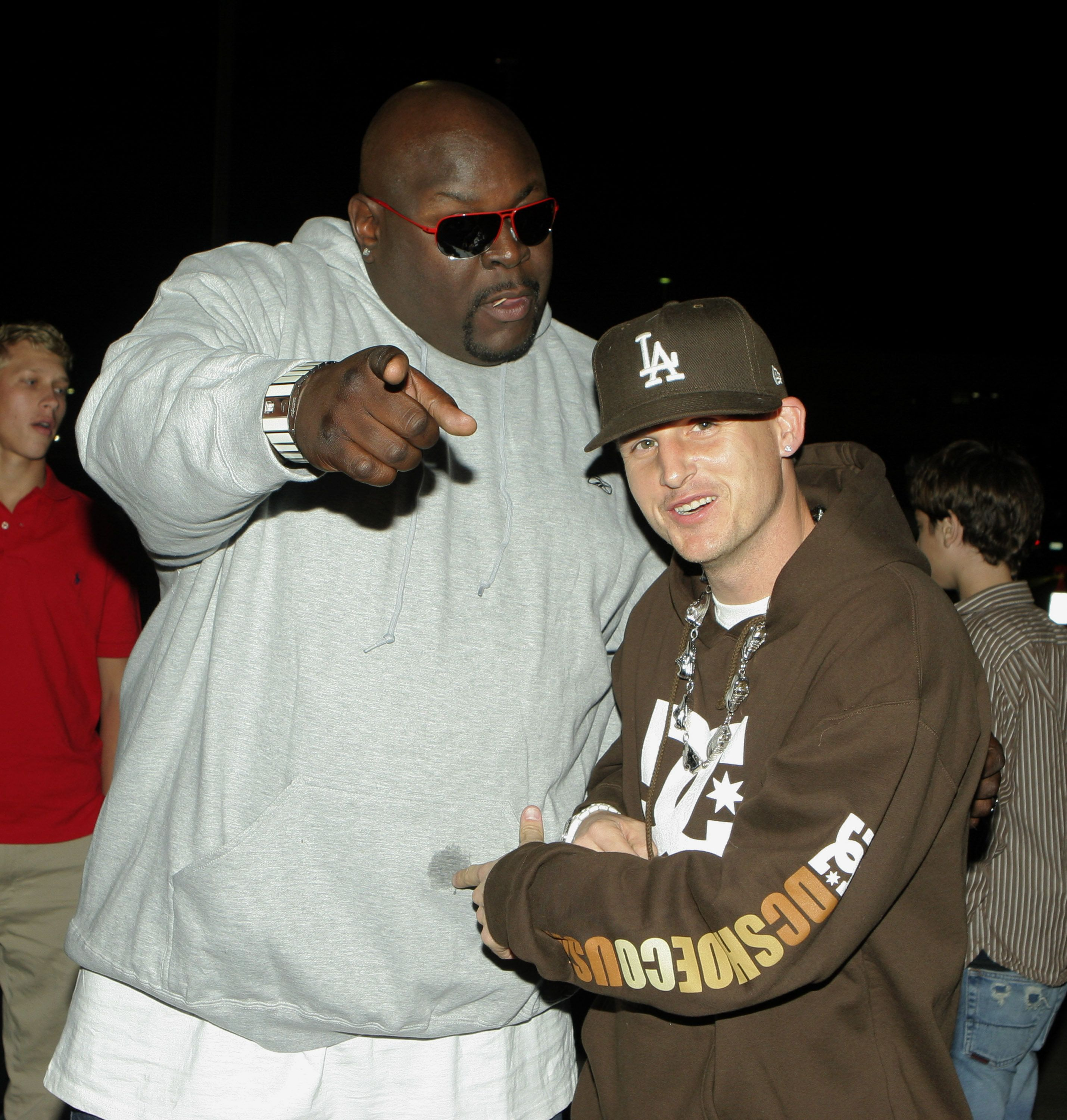 Big Black Christopher Boykin and Rob Dyrdek during Inaugural Arby's Action Sports Awards - Red Carpet and Show at Center Staging in Burbank, California, United States. (Photo by Rebecca Sapp/WireImage for Arby's Restaurant Group, Inc.)